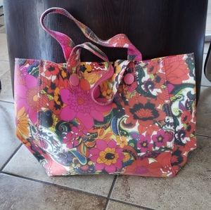 LIKE NEW! GAP PINK FLORAL RUBBER BEACH TOTE